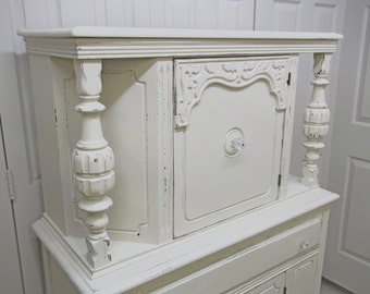 China Cabinet / Cupboard, White Cottage Style, Antique - CB201 Shabby Farmhouse Chic, Tabernacle Cabinet