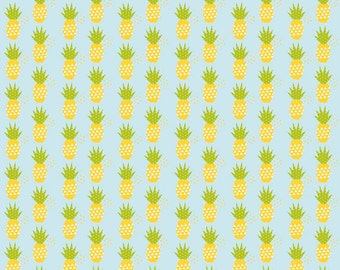 BLACK FRIDAY SALE - 5 Yard Cut - Fresh Market - Pineapples - C5314 - Aqua - Bella Blvd for Riley Blake Designs
