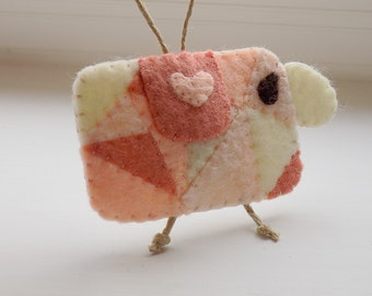 Crazy Quilt Felt Sheep Ornament