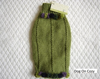 Textured Dog Sweater, Hand Knit Pet Sweater, Full Length Sweater, Size SMALL, Grapes Green