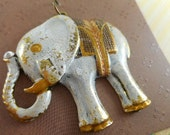Elephant Pendant - Antique Gold - Hand Painted - Creamy White - Dry Gulch 66461
