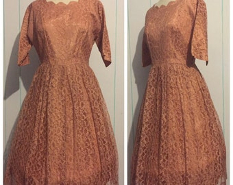 60s Lace Cocktail Dress Size 10