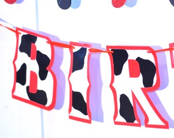 Cowgirl Birthday Banner, Cowboy Birthday Banner, HAPPY BIRTHDAY Banner, Cow Print Birthday Banner, Cow Print Birthday Party, First Birthday