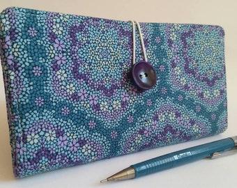 CHECKBOOK COVER in Deep Purple Teal Blue - Kaleidoscope Flowers