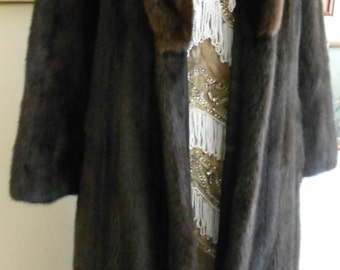 "1990's, 36"" bust, calf length, full pelted, dark brown ranch mink coat."