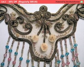 Winter SALE - Antique Applique Ribbonwork Metallic Beaded Lace French