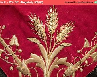 Surprise SALE - Antique Vestment Metallic Velvet Embroidery Fragment