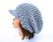 Silver Newsboy Hat - Crochet Hat With Visor - Slouchy Headwear - Women's Cap - Brim Hat - Brimmed Beanie - Crochet Accessories