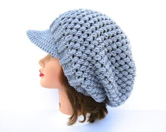 Silver Newsboy Hat - Crochet Hat With Visor - Slouchy Headwear - Women's Cap - Brim Hat - Brimmed Beanie - Crochet Accessories