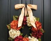 "HYDRANGEA WREATH SALE Fall Hydrangeas, Fall Wreaths Etsy, Fall Hydrangea Wreaths for Front Door, 20"" Fall Wreaths, Outdoor Autumn Wreaths"