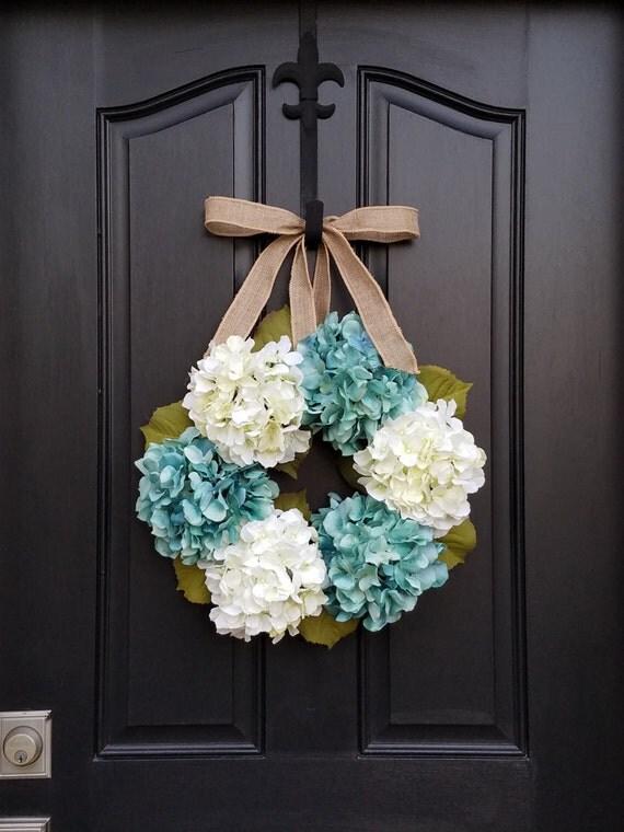 Blue Hydrangeas - Year Round Floral Wreath - Shabby Chic Decor - Modern Floral Decor - Summer Wreaths - Summer Hydrangeas