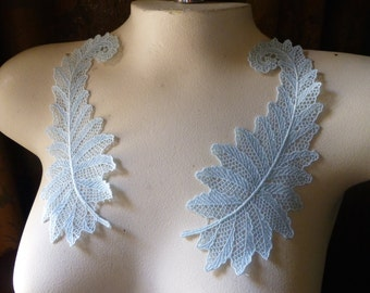 Blue Lace Applique Pair Vintage for Garments, Costumes, Bridal PR 303bl