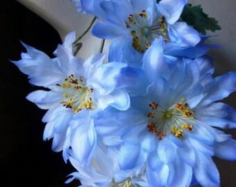 Dahlias in Blue Vintage Silk Millinery for Millinery, Headbands,  Bridal MF 258b