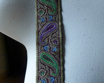 Jacquard Paisley Ribbon Trim in Purple, Green & Gold for Tribal Fusion, Bellydance, Costumes, Garments TR 255