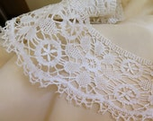 """Antique Bobbin Lace Trim Linen Lace Handmade Lace Torchon Lace Cluny Lace 80"""" x 3-1/2"""" wide"""