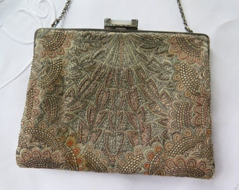 Art Deco Purse by Christine's Custom Bags Rare Tapestry with Sterling Silver Frame Set with Marcasite