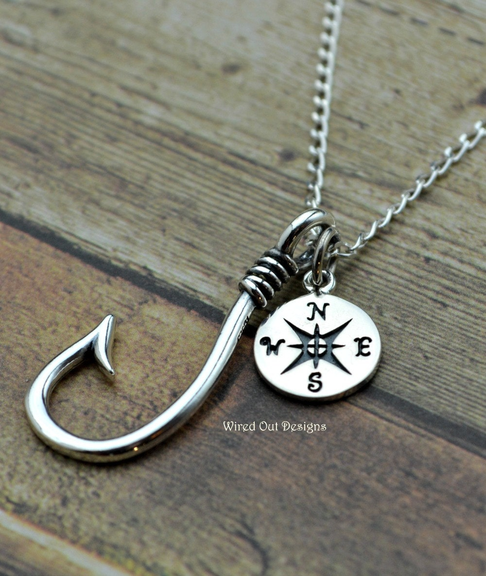 Fish hook compass sterling silver necklace by for Silver fish hook necklace