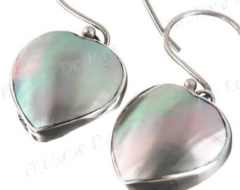 "9/16"" Heart Blue Abalone Shell 925 Sterling Silver Earrings"