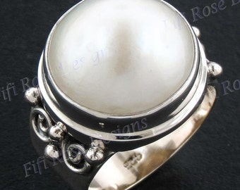 15mm White Mabe Pearl 925 Sterling Silver Sz 6 Ring