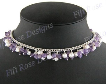 Amethyst Freshwater Pearl 925 Sterling Silver Necklace