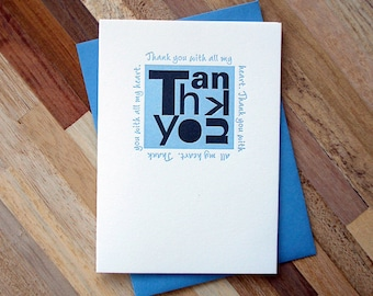 Thank You Blue Letterpress Card