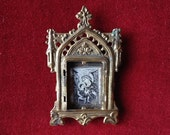 Shrine altar icon of Our Lady of Perpetual, frame amulet, french antique religious, gothic