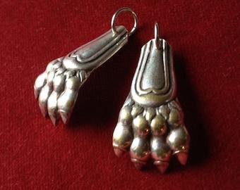 Antique french silver lion paw amulet, talisman, pendant lot of 2