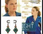 Seen on Bones - Turquoise Earrings - Diamond Shape Earrings - Beaded Earrings -Turquoise - Red Beaded Earrings - Dangle Earrings Brass