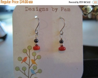 ON SALE Coral and Silver Drop Earrings