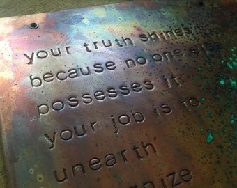 your truth shines - copper wall plaque - made to order