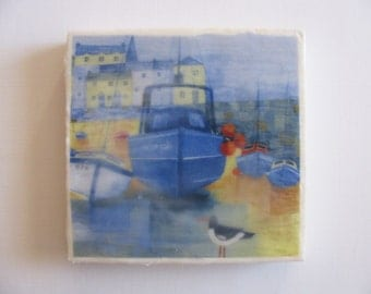 6X6 Blue Boat Encaustic Mixed Media Wax Collage on Cradled Birch Panel. Blue, Yellow, Fishing Village, Seagull. SFA (Small Format Art)