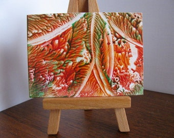 Inventory Clearance ACEO Tangerine, Forest Green II Abstract Encaustic (Wax) Original Miniature Painting. Rose Red, Forest Green