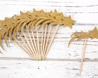 Shooting Star Gold Glitter Unicorn Cupcake Toppers - Set of 12