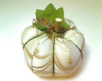 Size 4 | Creamy White Fabric Pumpkin | Holidays | Fall Decor | Autumn | Thanksgiving Decor | Table Decoration | Handmade Gift | #6