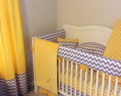 Baby Bedding Complete Monogrammed Bumperless Nursery Set Gray with Accent Color of Choice Deposit