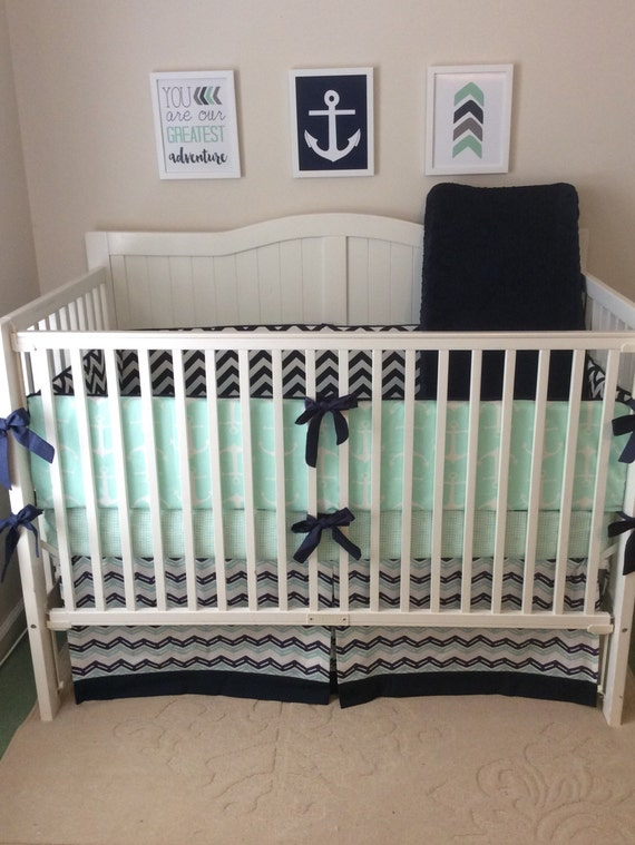 Crib Bedding Baby Boy Rooms: Baby Boy Crib Bedding Set Navy And Mint Nautical