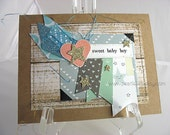 Sweet Baby Boy Handmade Gift Card~Blue Boy Baby Shower Gift~Shooting Star Card~Boy Birthday Card~Unique Card~ooak Card~Baby Boy Decor