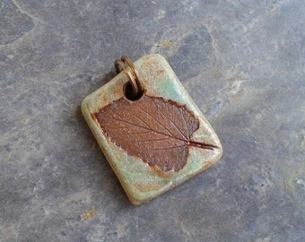 Sage Green Wisconsin Leaf Ceramic Pendant, woodsy, natural, rustic and hip!