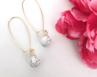 white turquoise drop earrings - bohemian jewelry - turquoise charm jewelry - women's jewelry gift - bohemian chic earrings - dangle earrings