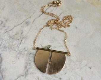 Mirror Pendant. Brass. Gold Filled. Geometric. Simple. Modern. Minima. Old World. Ancient. Boho. Long Chain Necklace. Gold Necklace
