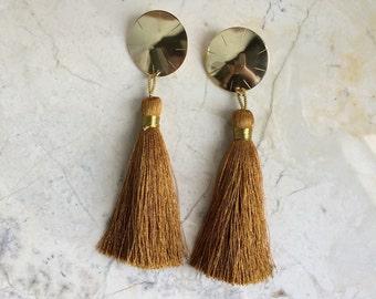 Tassel Earrings. Big Bold Earrings. Brass and Silk. Post earrings.
