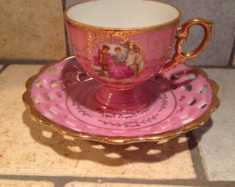 Orchid Colonial Couple Cup and Saucer Set