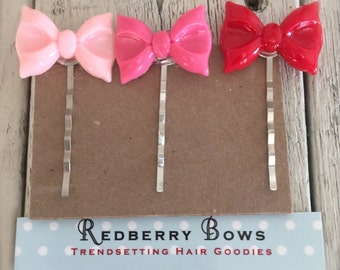 HAIR BOBBIES Resin BOWS Set of 3- Pink, Hot Pink and Red-Free shipping with the purchase of another item