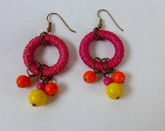 1980s Earrings Straw Wrapped Hoops w Bead Dangles fuchsia yellow orange