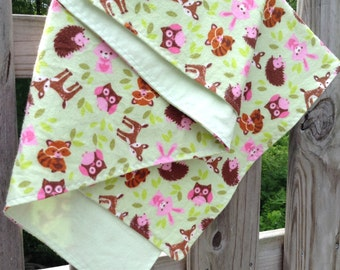 Square Flannel Swaddler Blanket for Baby, 38x38 inches, Forest Animals