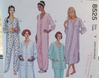 Misses' Sleepwear McCall's 8525 Pajama Sewing Pattern Nightgown, Elastic Waist Pyjama Pants and Top, Nightshirt, PJ Jumpsuit CUT to Size S
