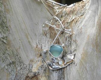 fine silver manta ray, shell, genuine seafoam sea glass necklace pendant