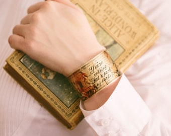 Wonderland Jewelry - Brass Cuff Bracelet - Lewis Carroll Book Quote - Bookish Gifts - Alice Bracelet - Gifts for Grand Daughter