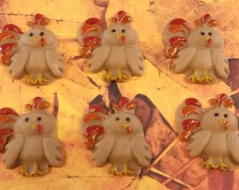 Edible Fondant Turkeys-Cupcake Toppers-Set of 6 Fondant Turkeys-Fondant Farm Animals-Fondant Thanksgiving