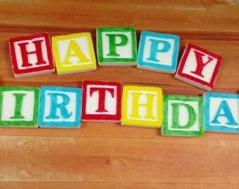 Happy Birthday Letters, Happy Birthday Blocks, Edible Block Lettering, Fondant Blocks, Edible Fondant Letters